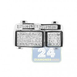 14K White Gold 1.13 ct Diamond Mens Signet Ring