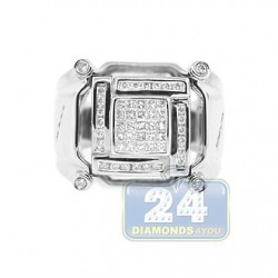 14K White Gold 0.67 ct Diamond Mens Signet Ring
