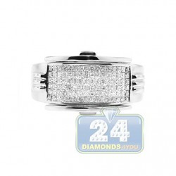 14K White Gold 1.03 ct Princess Cut Diamond Mens Ring