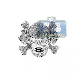 14K White Gold 1.66 ct Diamond Mens Skull Signet Ring