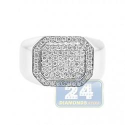 14K White Gold 0.71 ct Diamond Mens Rectangular Signet Ring