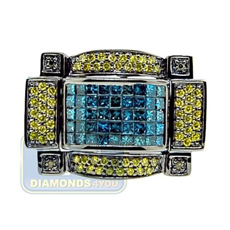 Black 14K White Gold 2.58 ct Blue Yellow Diamond Mens Ring