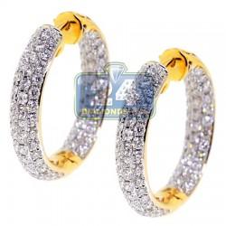 18K Yellow Gold 3.53 ct Diamond Womens Round Hoop Earrings 1 Inch