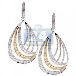14K Two Tone Gold 4.05 ct Diamond Womens Dangle Earrings