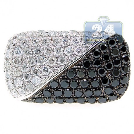 14K White Gold 4.75 ct Black Diamond Womens Signet Ring