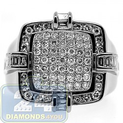 Black 14K White Gold 2.05 ct Diamond Mens Signet Ring