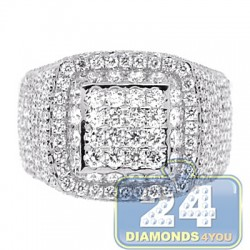 14K White Gold 3.06 ct Diamond Mens Signet Ring
