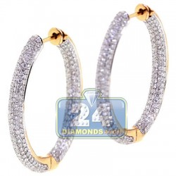 18K Yellow Gold 3.44 ct Diamond Womens Oval Hoop Earrings 1 1/4 Inches