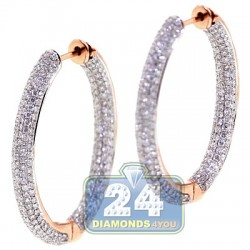 18K Rose Gold 3.44 ct Diamond Womens Oval Hoop Earrings 1 1/4 Inches
