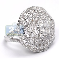 14K White Gold 3.11 ct Diamond Womens Bonnet Ring