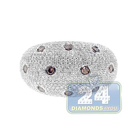 14K White Gold 1.66 ct Diamond Womens Dome Ring