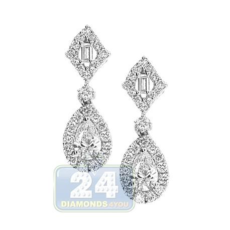 18K White Gold 1.12 ct Diamond Womens Dangle Earrings