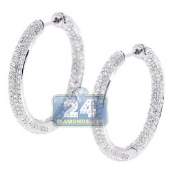 18K White Gold 3.43 ct Diamond Womens Round Hoop Earrings 1 1/5 Inches