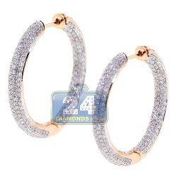 18K Rose Gold 3.43 ct Diamond Womens Round Hoop Earrings 1 1/5 Inches