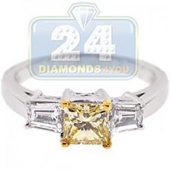 GIA Certified 18K White Gold 1.25 ct Fancy Yellow Diamond Womens Engagement Ring