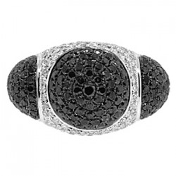 14K White Gold 5.58 ct Black Diamond Womens Large Dome Ring
