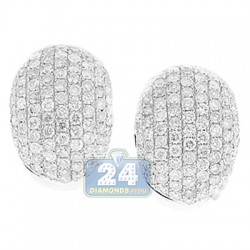 14K White Gold 3.80 ct Diamond Small Hoops Womens Earrings 3/4 Inches