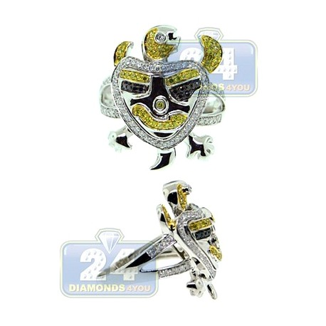 14K White Gold 1.77 ct Multicolor Diamond Mens Turtle Ring