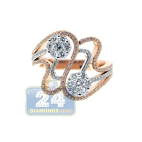 14K Two Tone Gold 0.90 ct Diamond Womens Band Ring