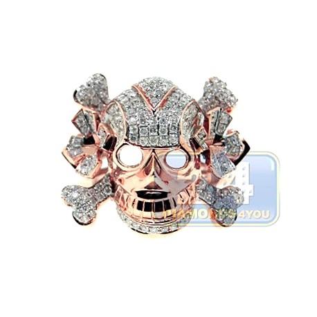 14K Rose Gold 1.70 ct Diamond Mens Skull Signet Ring