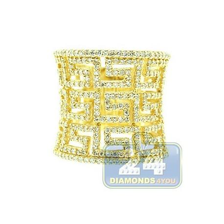 Womens Diamond Greek Key Wide Ring 14K Yellow Gold 1.05 ct