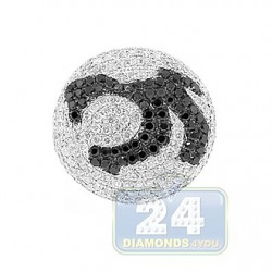 14K White Gold 2.81 ct Black White Diamond Mens Ring