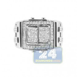14K White Gold 1.33 ct Diamond Mens Signet Ring