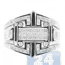 14K White Gold 1.08 ct Diamond Mens Signet Ring
