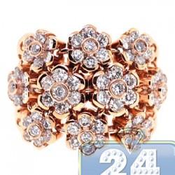 18K Rose Gold 2.35 ct Diamond Womens Cluster Flower Ring