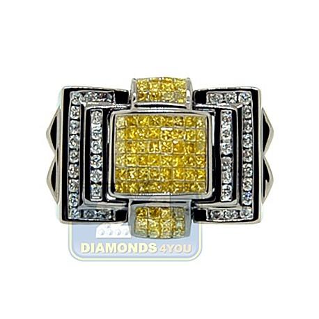 Black 14K White Gold 1.97 ct Yellow Diamond Mens Signet Ring
