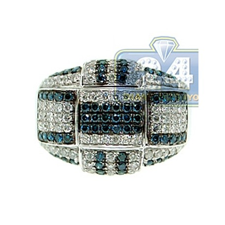 14K White Gold 2.50 ct Blue Diamond Mens Signet Ring