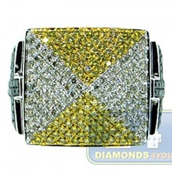 14K White Gold 2.02 ct Color Diamond Mens Signet Ring