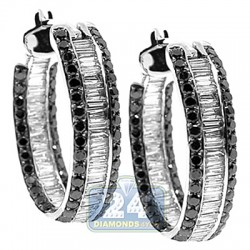 14K White Gold 3.70 ct Black Baguette Diamond Womens Hoop Earrings 1 Inch