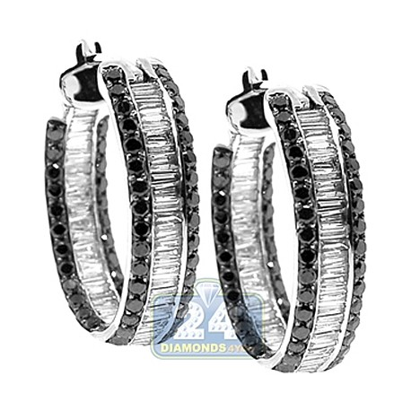 14K White Gold 3.70 ct Black Baguette Diamond Womens Hoop Earrings 1 Inch