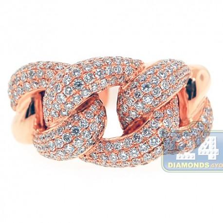 18K Rose Gold 1.90 ct Diamond Womens Knot Ring