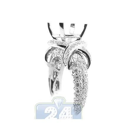 18K White Gold 1.62 ct Diamond Semi Mount Setting Womens Engagement Ring