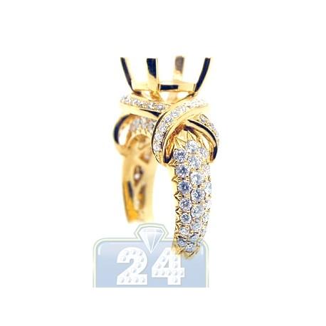 18K Yellow Gold 1.62 ct Diamond Semi Mount Setting Womens Engagement Ring