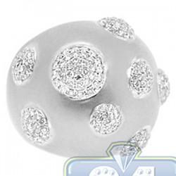 14K White Gold 1.71 ct Diamond Womens Matte Dome Ring