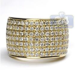 14K Yellow Gold 2.81 ct Diamond Womens Heavy Ring