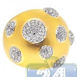 14K Yellow Gold 1.66 ct Diamond Womens Matte Dome Ring