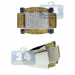 14K White Gold 1.30 ct White Blue Yellow Diamond Mens Ring