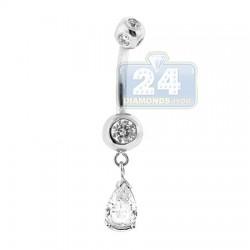 14K White Gold 1.50 ct Pear Diamond Womens Dangle Belly Ring