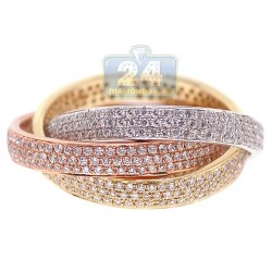 14K Three Tone Gold 1.56 ct Diamond Three Bands Set Womens Ring