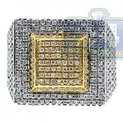 14K Two Tone Gold 2.10 ct Diamond Mens Signet Ring