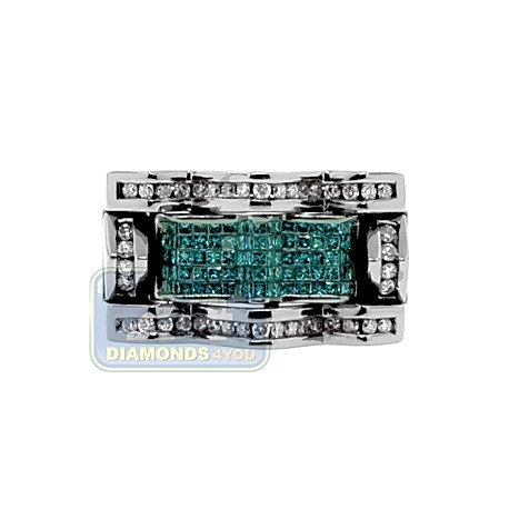 Black 14K White Gold 1.51 ct Diamond Mens Signet Ring