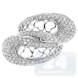 14K White Gold 2.80 ct Diamond Womens Heart Ring