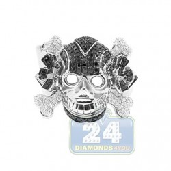 14K White Gold 1.94 ct White Black Diamond Mens Skull Ring