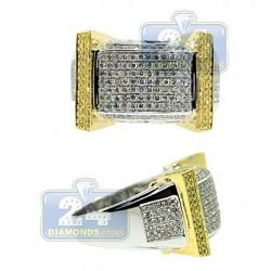 14K Two Tone Gold 1.45 ct Diamond Mens Signet Ring