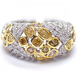 14K White Gold 2.55 ct Fancy Yellow Diamond Womens Dome Ring