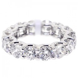18K White Gold 7.00 ct Round Cut Diamond Womens Eternity Ring